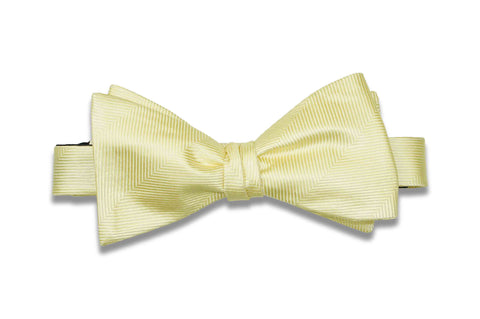 Butter Herringbone Silk Bow Tie (Self-Tie)