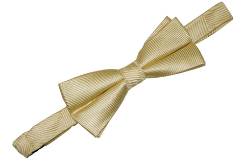 Butter Yellow Herringbone Silk Bow Tie (Boys)