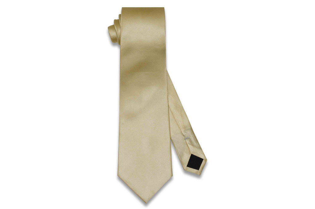 Butter Yellow Herringbone Silk Tie
