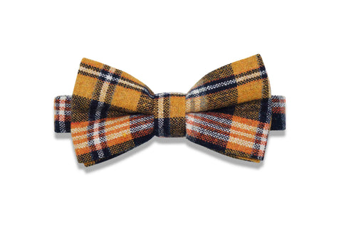 CAMEL PLAID WOOL BOW TIE (pre-tied)
