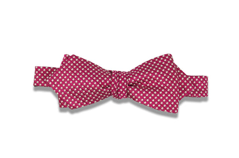 Candy Apple Mini Checks Silk Bow Tie (self-tie)