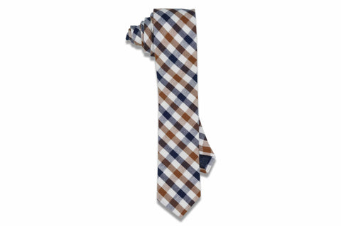 Caramel Stripes Cotton Skinny Tie