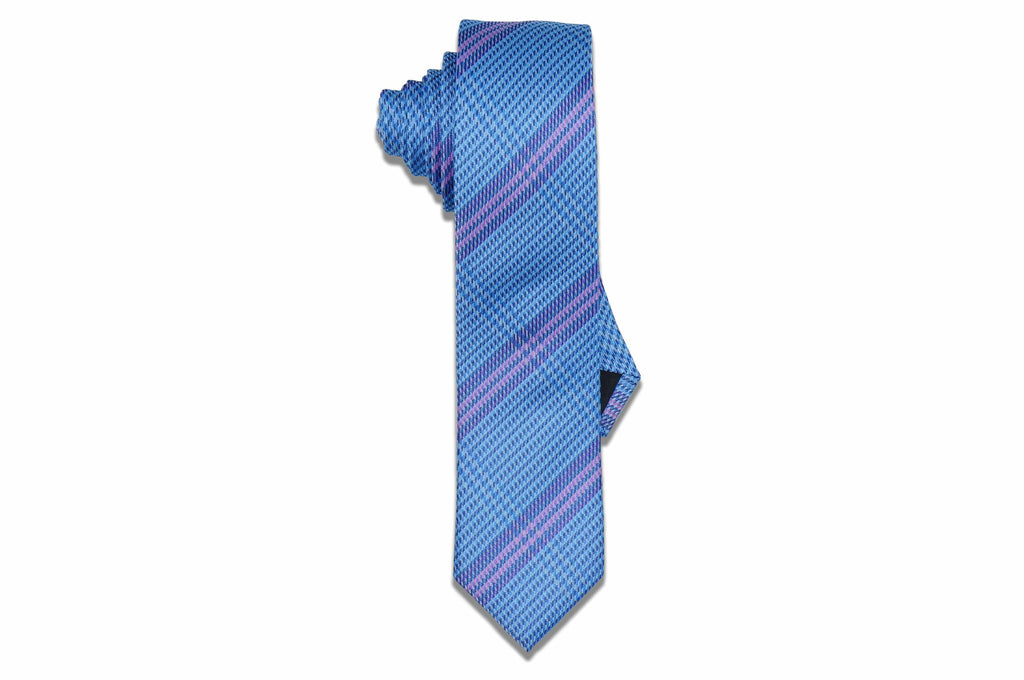 Cave Striped Blue Silk Skinny Tie