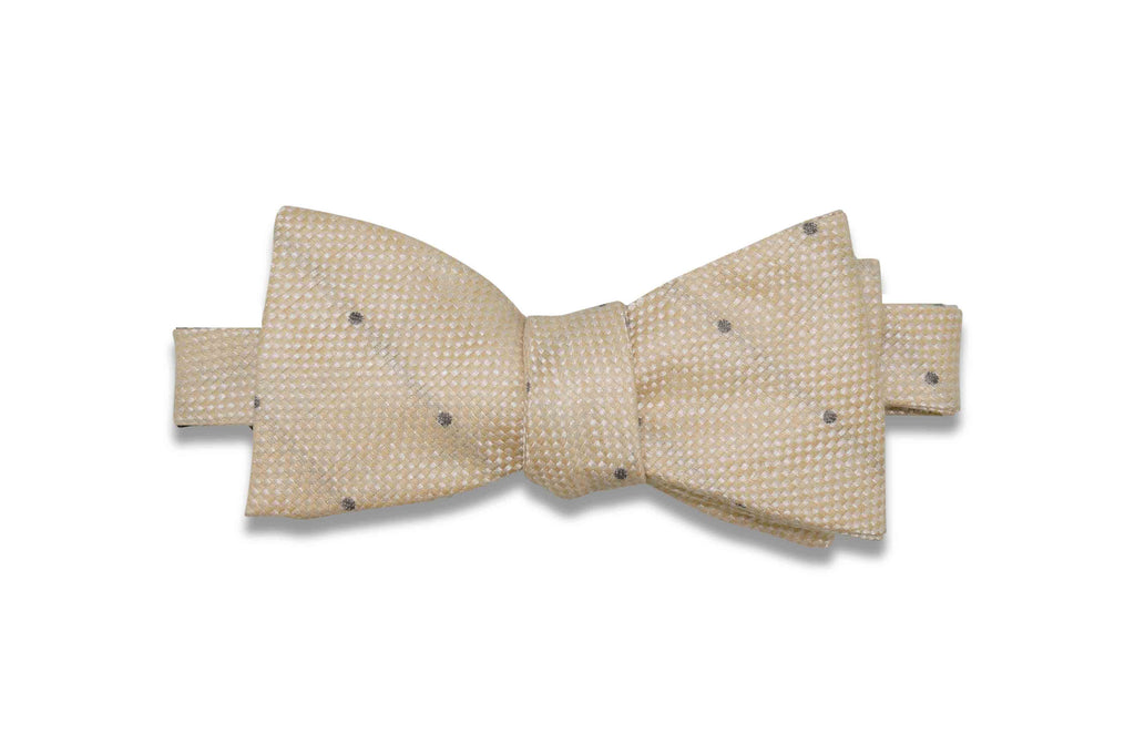 Champagne Dotted Linen Bow Tie (Self-Tie)