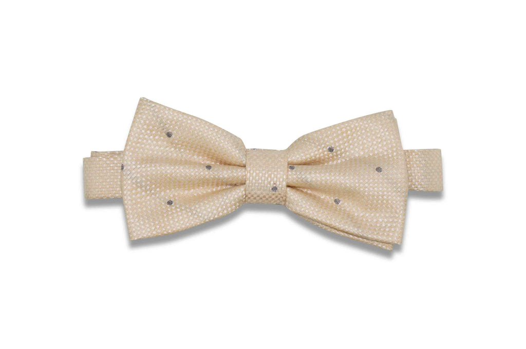 Champagne Dotted Linen Bow Tie (Pre-Tied)