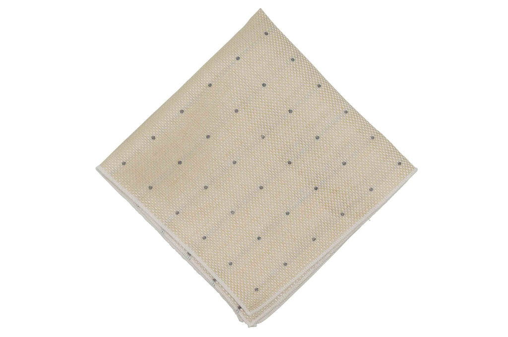 Champagne Dotted Linen Pocket Square