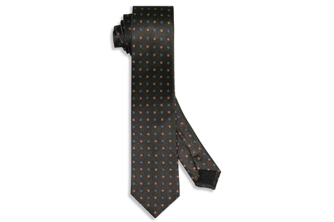 Charcoal Flowers Silk Skinny Tie