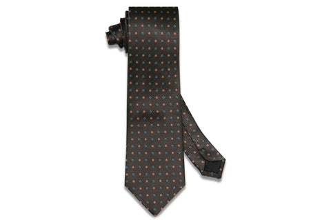 Charcoal Flowers Silk Tie