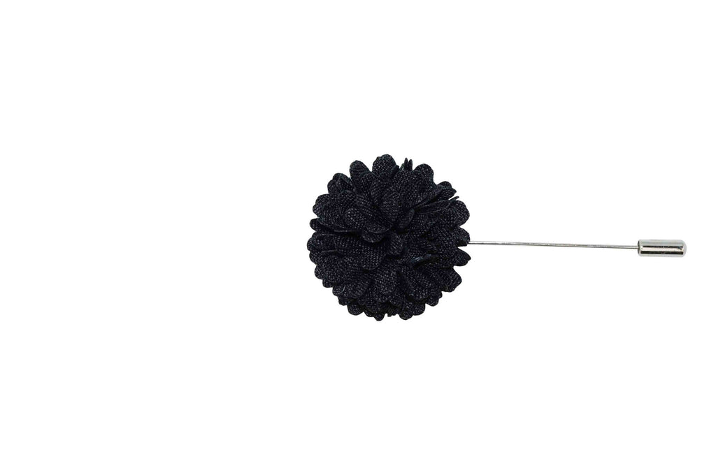 Charcoal Full Petal Lapel Flower