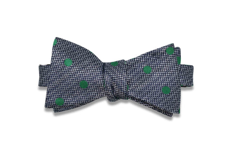Charcoal Green Dots Silk Bow Tie (self-tie)