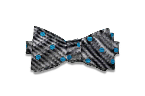 Charcoal Turquoise Dots Silk Bow Tie (self-tie)