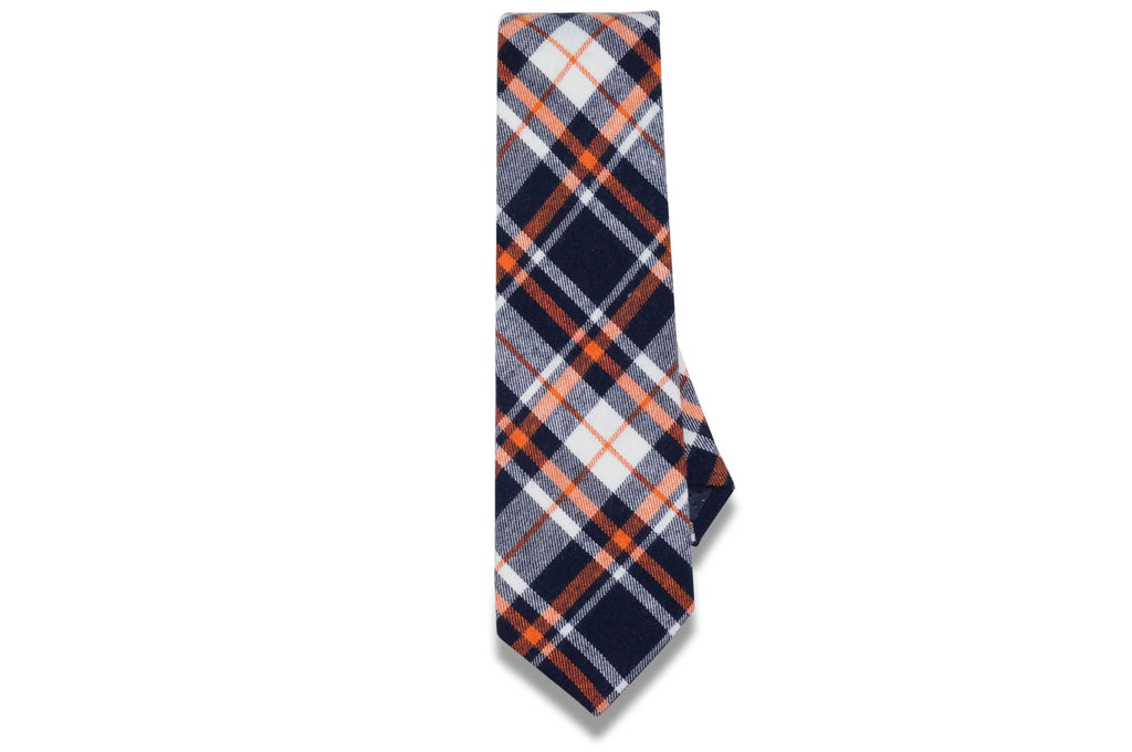 Charlie Plaid Blue Cotton Tie