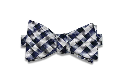 Check Blue Silk Bow Tie (self-tie)