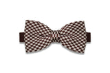 Checkered Brown Knitted Bow Tie (pre-tied)