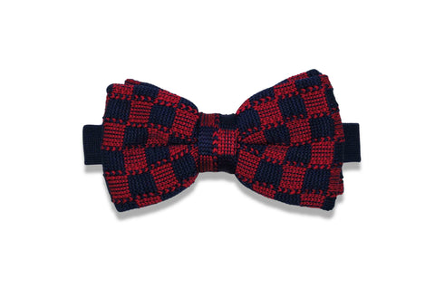 Checkers Blue Knitted Bow Tie (pre-tied)