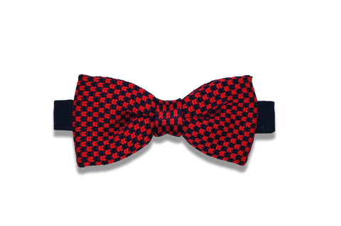 Checkers Red Knitted Bow Tie (pre-tied)