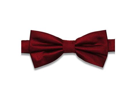 Cherry Red Herringbone Silk Bow (Pre-Tied)