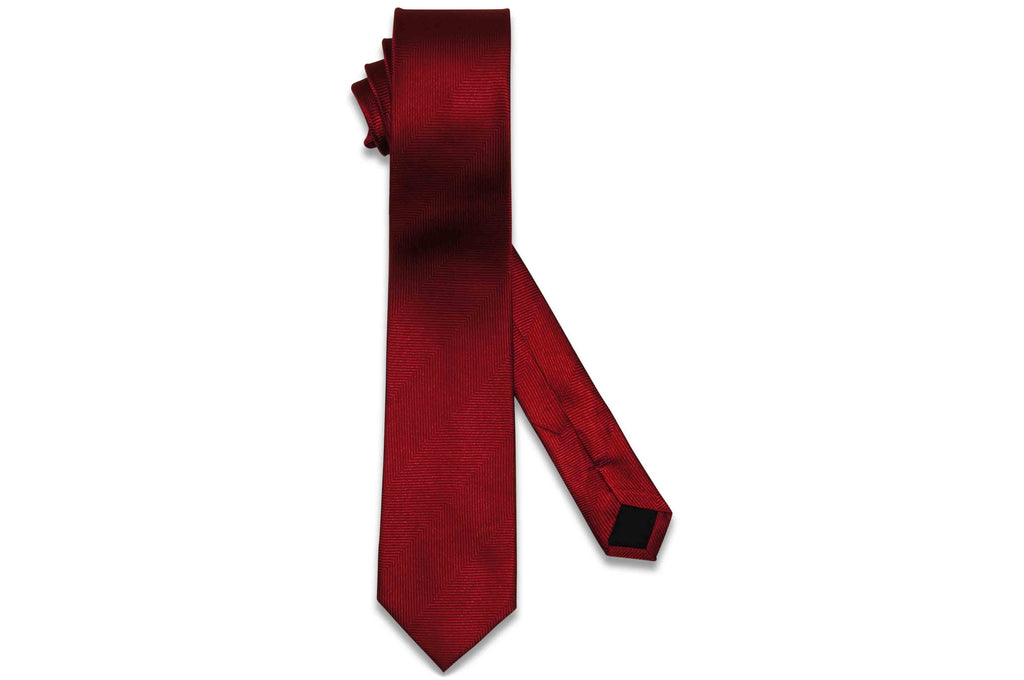 Cherry Red Herringbone Silk Skinny Tie