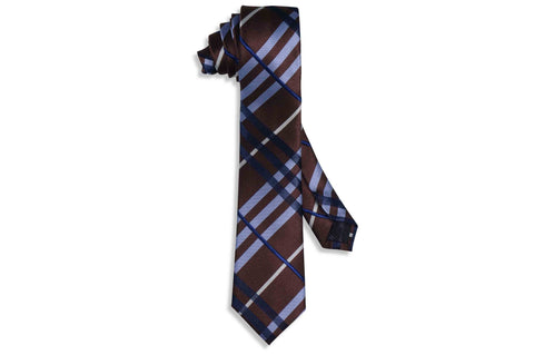 Chocolate Blue Skinny Tie