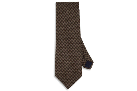Chocolate Houndstooth Wool Tie