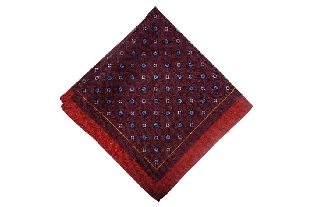 Clarington Burgundy Wool Pocket Square