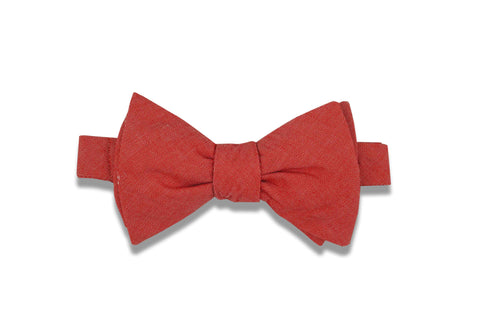 Coral Chambray Cotton Bow Tie (self-tie)