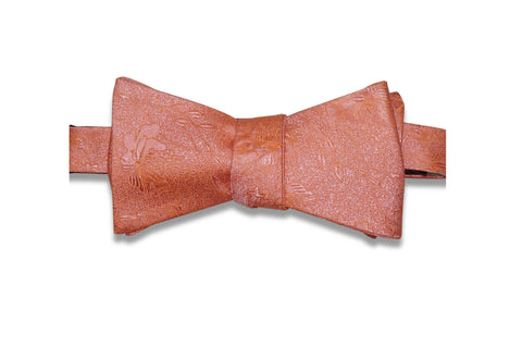Coral Fade Flowers Silk Bow Tie (Self-Tie)