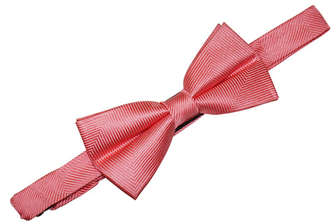 Coral Herringbone Silk Bow Tie (Boys)