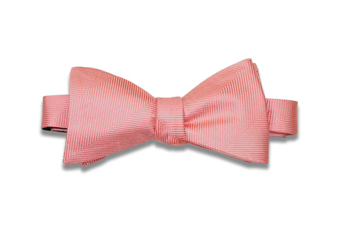 Coral Herringbone Silk Bow Tie (Self-Tie)