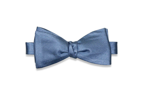Cornflower Herringbone Silk Bow Tie (Self-Tie)