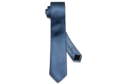 Cornflower Blue Herringbone Silk Skinny Tie