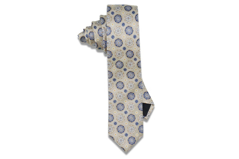 Cream Circle Flowers Silk Skinny Tie