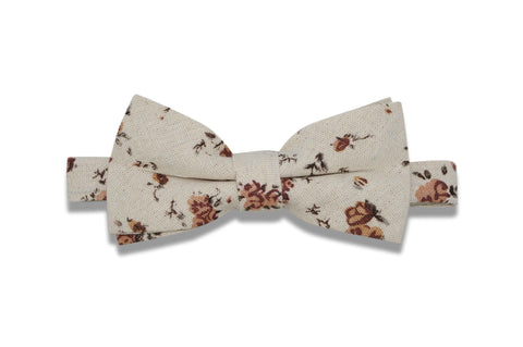Cream Flowers Cotton Bow Tie (pre-tied)