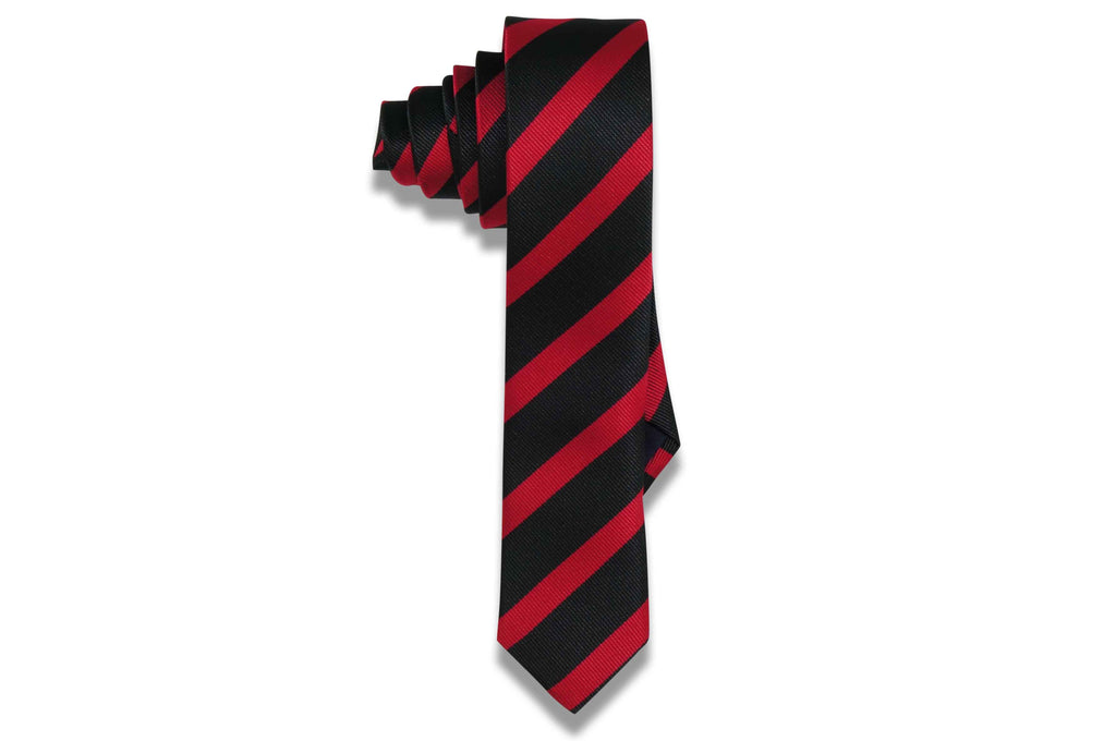 Crimson Stripes Polyester Skinny Tie