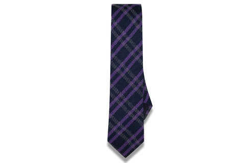 Criss Cross Purple Wool Skinny Tie