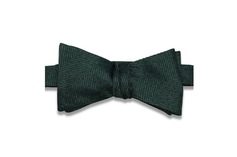 Dark Green Grained Silk Bow Tie (Self-Tie)