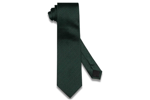 Dark Green Grained Silk Tie