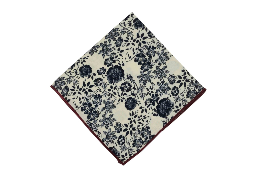 Dark Navy Floral Cotton Pocket Square