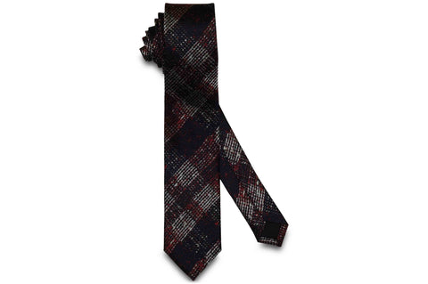 Dark Red Noise Silk Skinny Tie