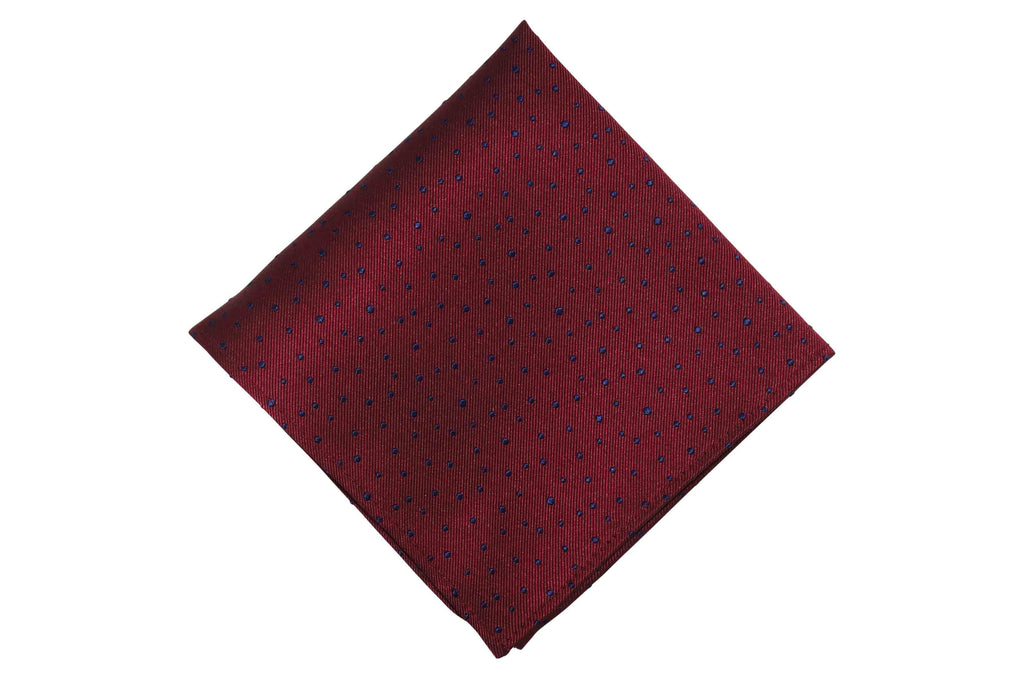 Deep Maroon Dotted Silk Pocket Square