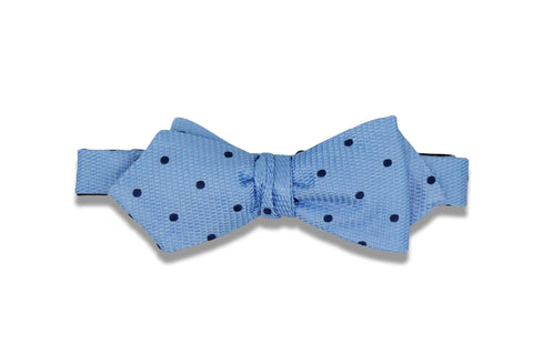 Double Blue Dots Silk Bow Tie (self-tie)