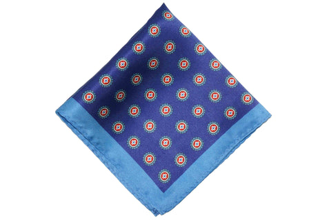Double Blue Glow Silk Pocket Square