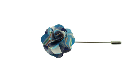 Double Blue Plaid Lapel Flower