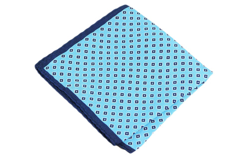 Double Blue Silk Pocket Square
