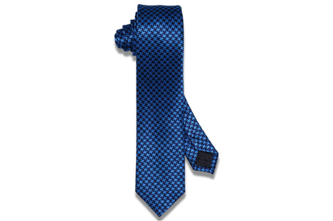 Double Blue Silk Skinny Tie