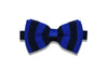 Double Blue Stripes Knitted Bow Tie (pre-tied)