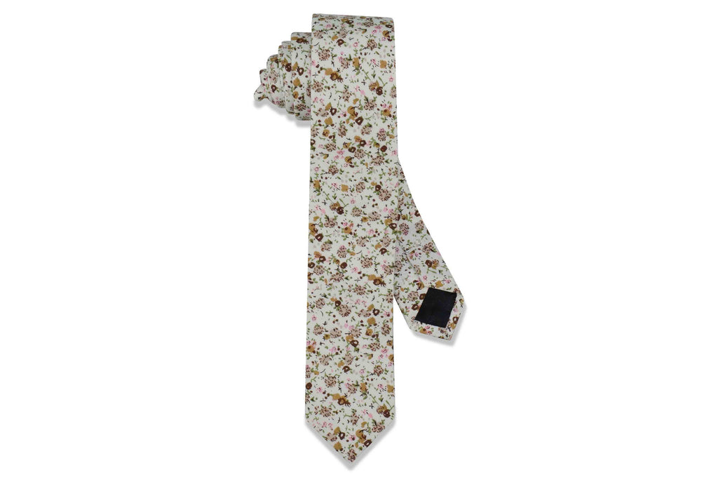 Double Brown Floral Cotton Skinny Tie
