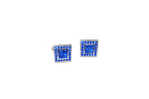 Double Square Blue Crystal Cufflinks