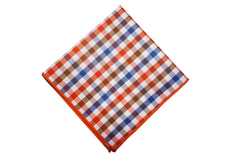 Edison Check Cotton Pocket Square