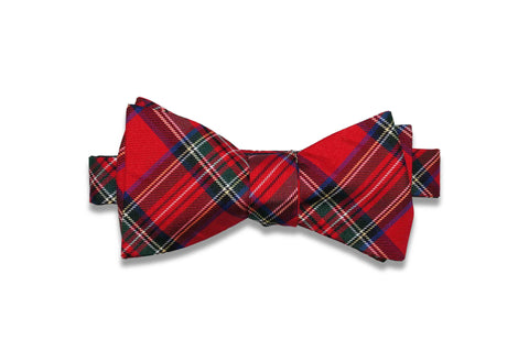 Fire Plaid Silk Bow Tie (self-tie)